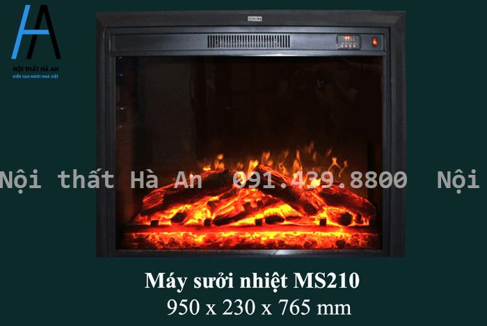 Máy sưởi nhiệt được đặt bên trong lò sưởi